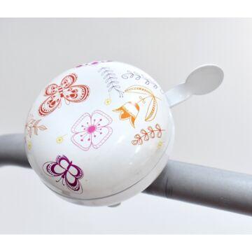 Kerékpár csengő 80 mm -  fehér virágos
