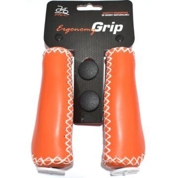 Kerékpár markolat bőr, varrott - narancs 135 mm