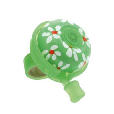 Kerékpár csengő alu - Zöld, virágos