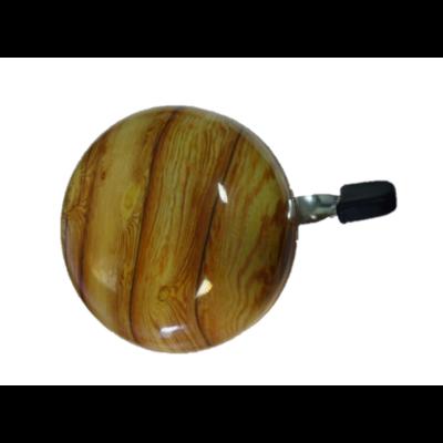 Kerékpár csengő 80 mm - acél, fa mintás
