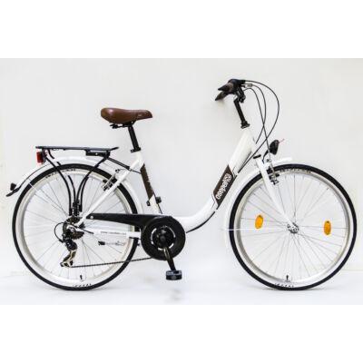"""Csepel Budapest B 26"""" felnőtt kerékpár, 7 sebesség - Fehér"""