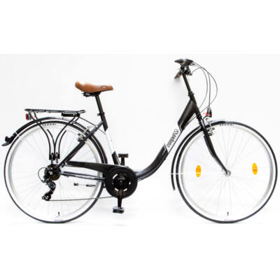 """Csepel Budapest B 28"""" felnőtt kerékpár, 7 sebesség - Matt Fekete"""