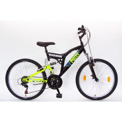 """Csepel Blackwood Fully 24"""" kerékpár - Fekete/Zöld"""