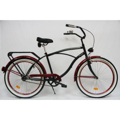 Kenzel Cruiser kerékpár -  Matt fekete/Bordó