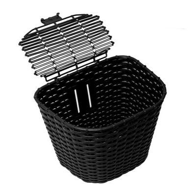 Műanyag Rattan hatású első kosár - Fekete